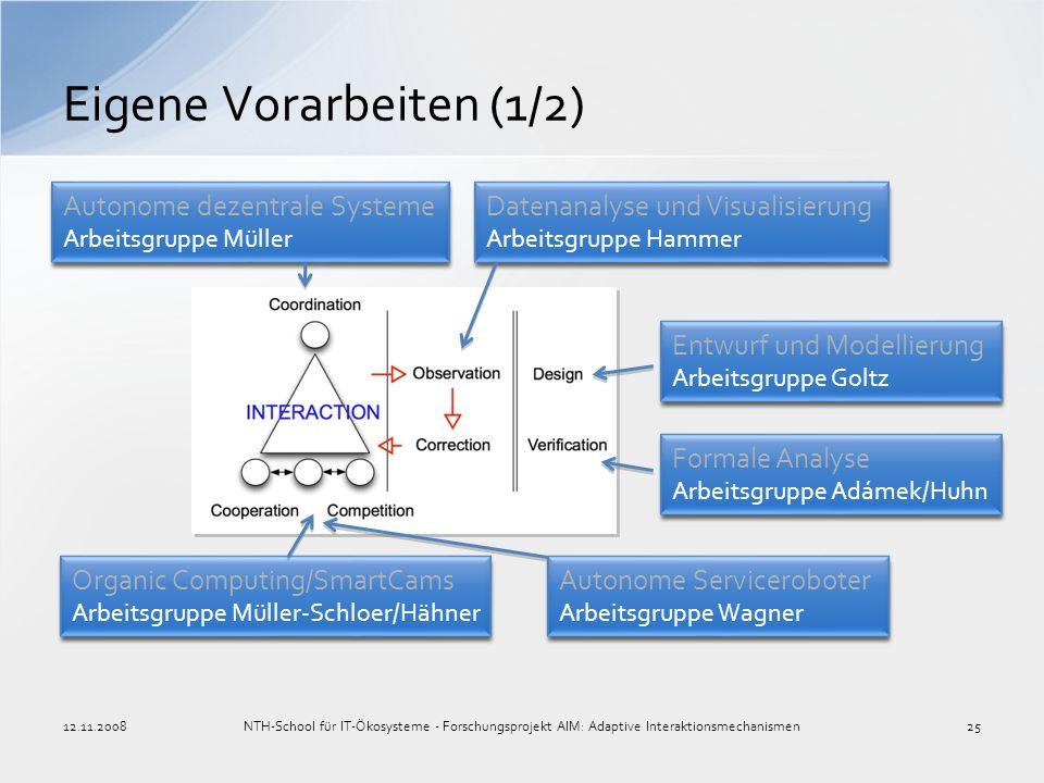 Eigene Vorarbeiten (1/2) Autonome Serviceroboter Arbeitsgruppe Wagner Autonome Serviceroboter Arbeitsgruppe Wagner Organic Computing/SmartCams Arbeits