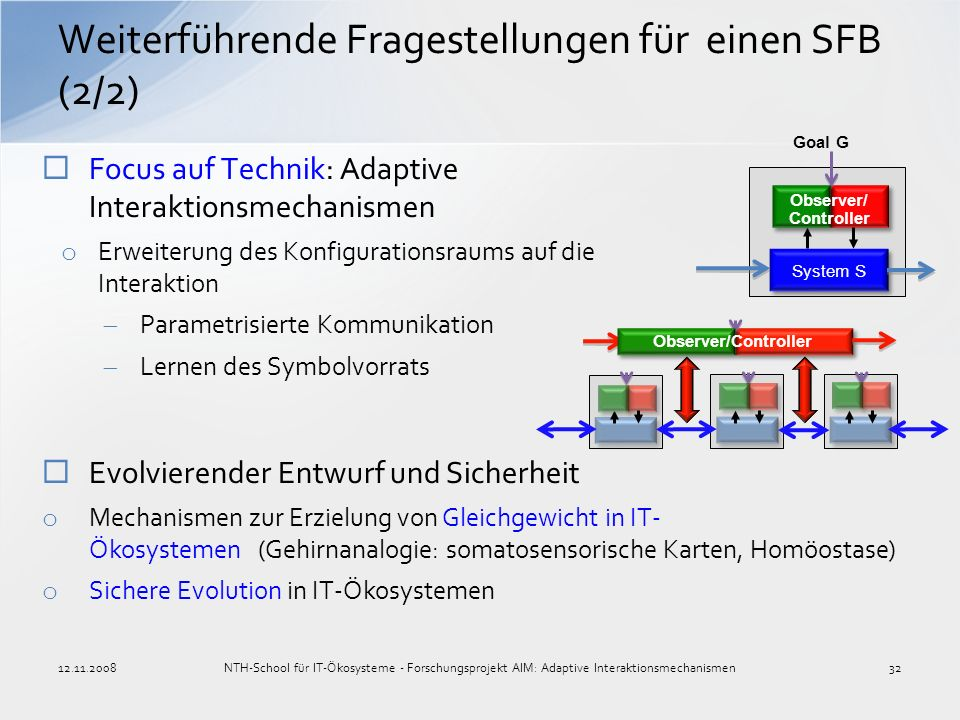 Weiterführende Fragestellungen für einen SFB (2/2) Focus auf Technik: Adaptive Interaktionsmechanismen o Erweiterung des Konfigurationsraums auf die I