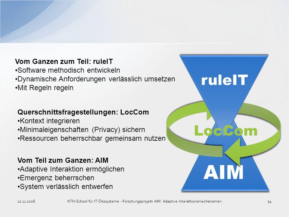 AIM ruleIT LocCom Vom Ganzen zum Teil: ruleIT Software methodisch entwickeln Dynamische Anforderungen verlässlich umsetzen Mit Regeln regeln Querschni