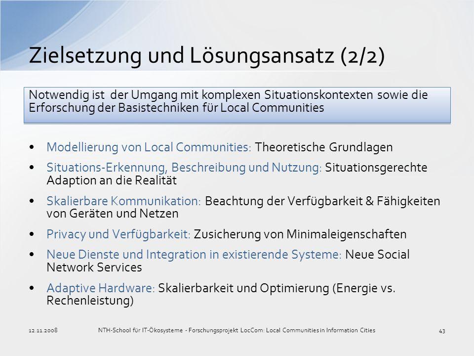 Modellierung von Local Communities: Theoretische Grundlagen Situations-Erkennung, Beschreibung und Nutzung: Situationsgerechte Adaption an die Realitä
