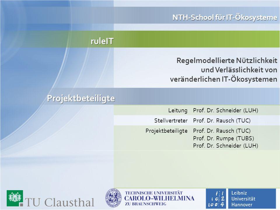 ruleIT Regelmodellierte Nützlichkeit und Verlässlichkeit von veränderlichen IT-Ökosystemen NTH-School für IT-Ökosysteme Leitung Prof. Dr. Schneider (L