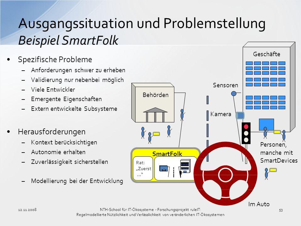 12.11.200853 Ausgangssituation und Problemstellung Beispiel SmartFolk Spezifische Probleme –Anforderungen schwer zu erheben –Validierung nur nebenbei