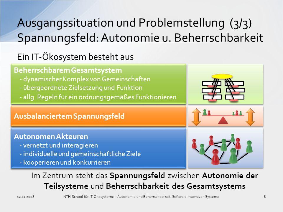Im Zentrum steht das Spannungsfeld zwischen Autonomie der Teilsysteme und Beherrschbarkeit des Gesamtsystems Ausgangssituation und Problemstellung (3/