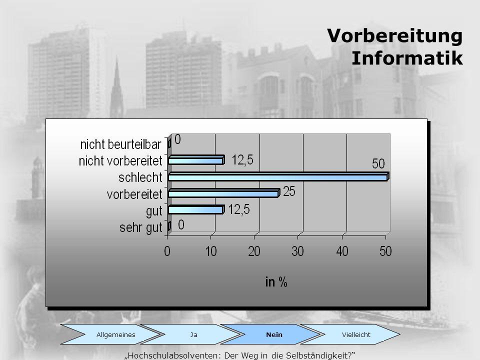 Vorbereitung Informatik Hochschulabsolventen: Der Weg in die Selbständigkeit? AllgemeinesJaNeinVielleicht