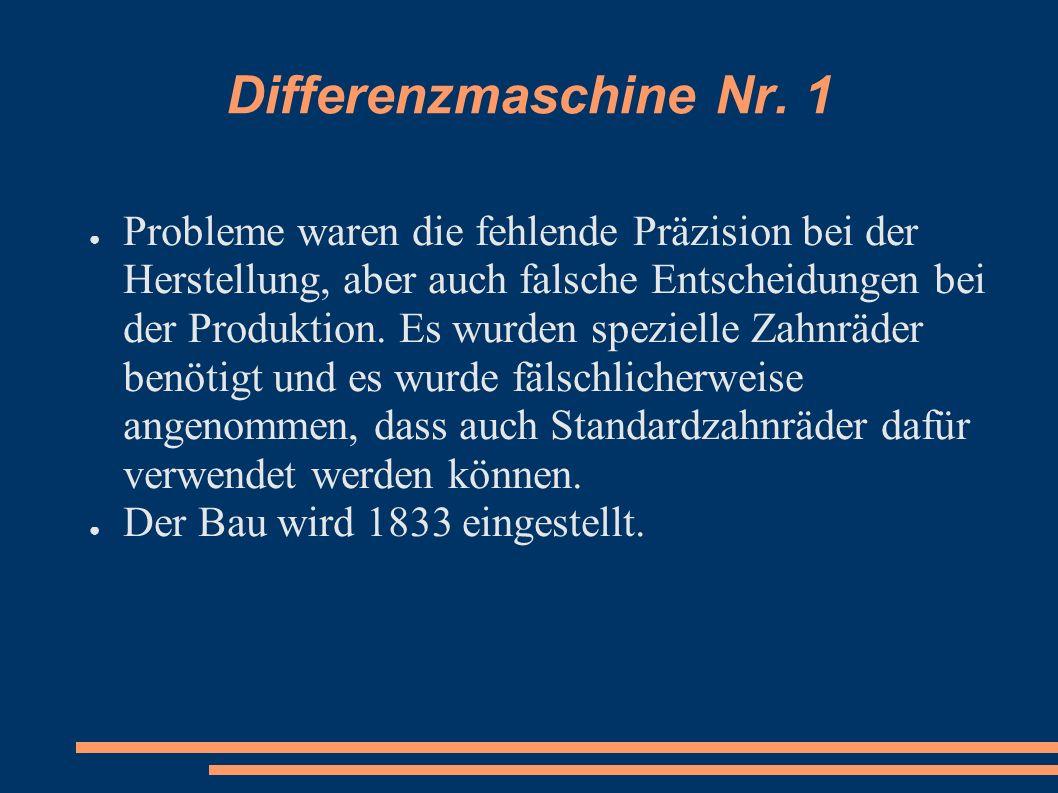 Differenzmaschine Nr. 1 Probleme waren die fehlende Präzision bei der Herstellung, aber auch falsche Entscheidungen bei der Produktion. Es wurden spez