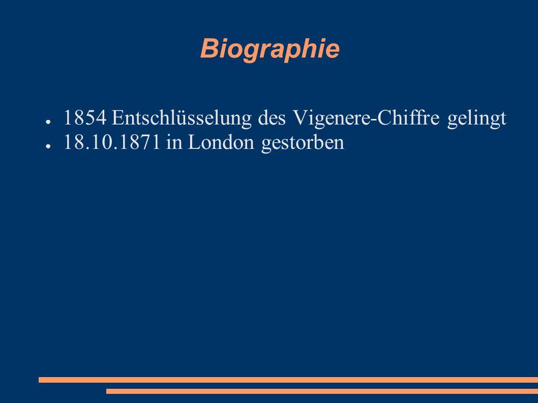 Biographie 1854 Entschlüsselung des Vigenere-Chiffre gelingt 18.10.1871 in London gestorben