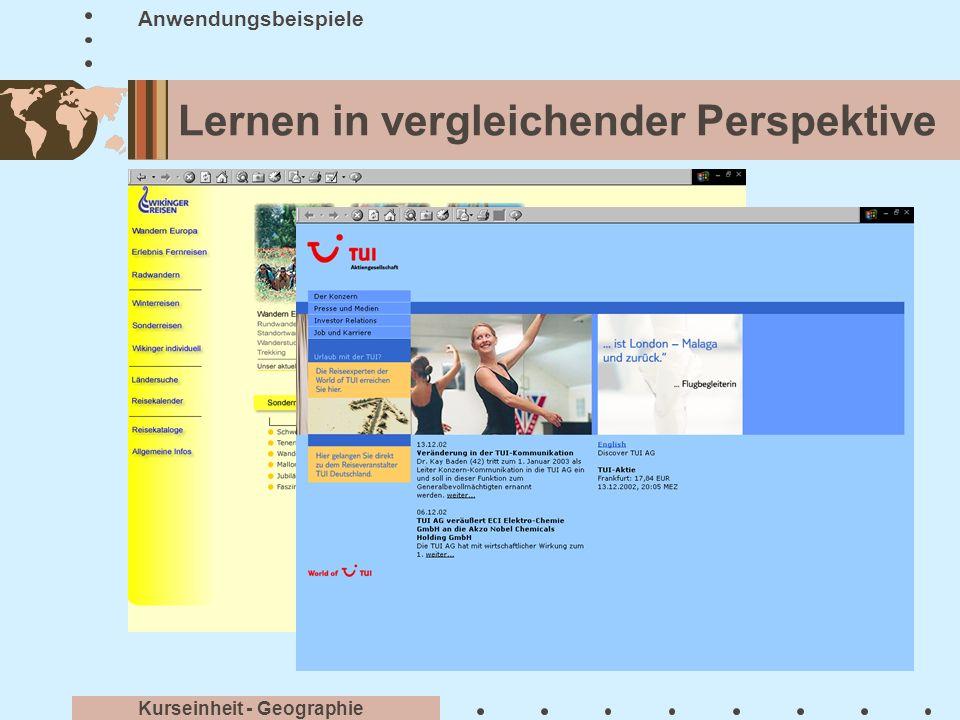 Informationen recherchieren Anwendungsbeispiele Kurseinheit - Geographie