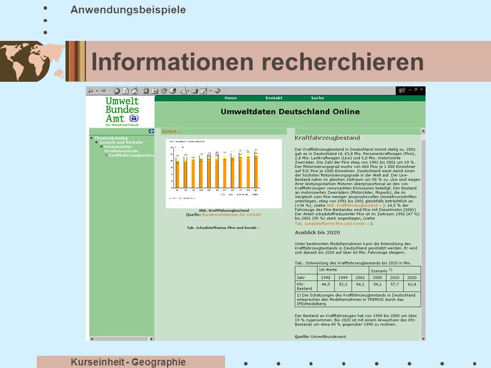 Informationen kommunizieren Anwendungsbeispiele Kurseinheit - Geographie