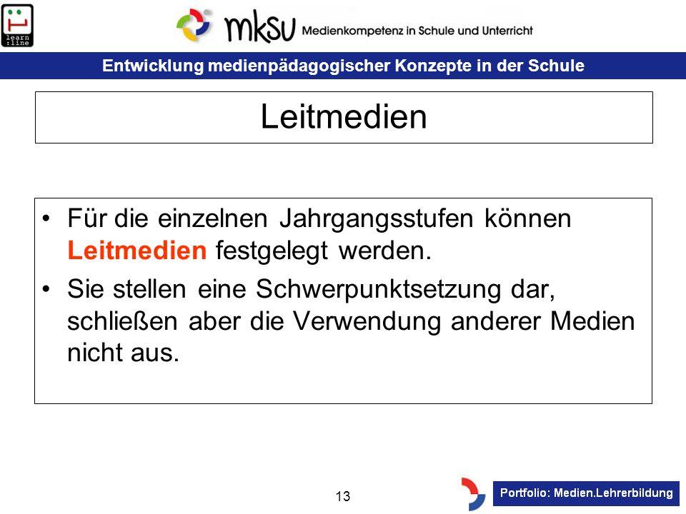 Entwicklung medienpädagogischer Konzepte in der Schule 13 Leitmedien Für die einzelnen Jahrgangsstufen können Leitmedien festgelegt werden. Sie stelle