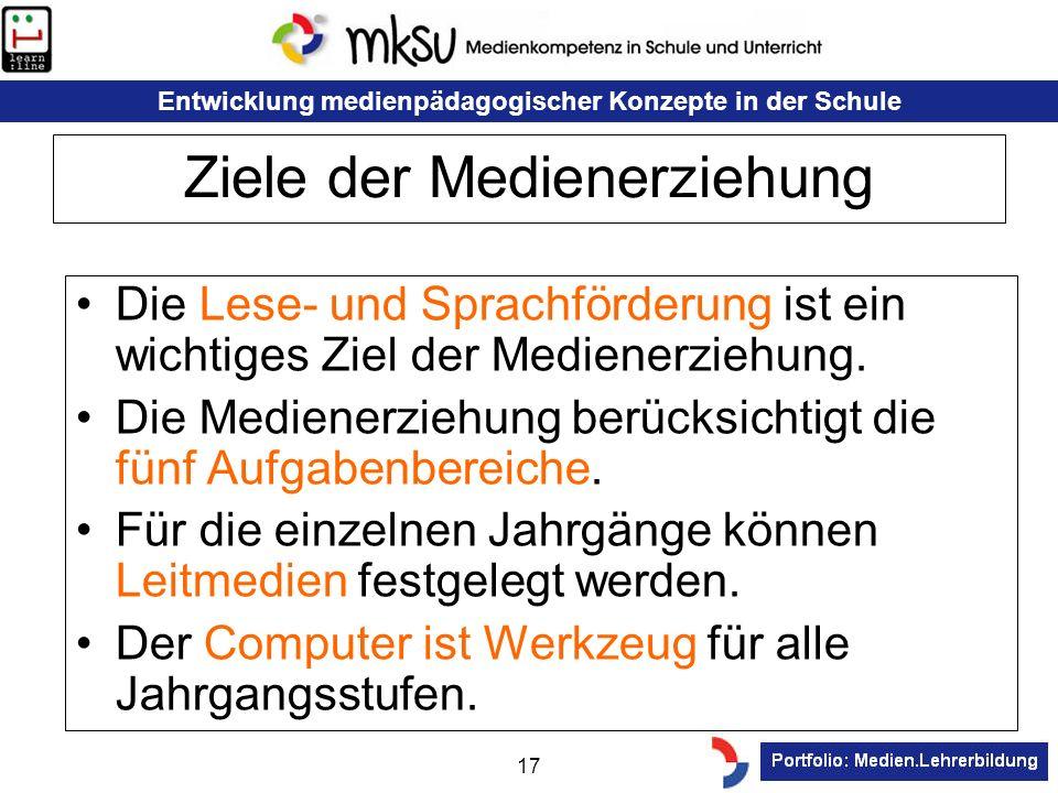 Entwicklung medienpädagogischer Konzepte in der Schule 17 Ziele der Medienerziehung Die Lese- und Sprachförderung ist ein wichtiges Ziel der Medienerz