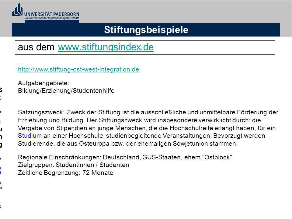 Stiftungsbeispiele aus dem www.stiftungsindex.dewww.stiftungsindex.de Stiftung Studium - Stiftung für Ost-West-IntegrationStiftung Studium - Stiftung