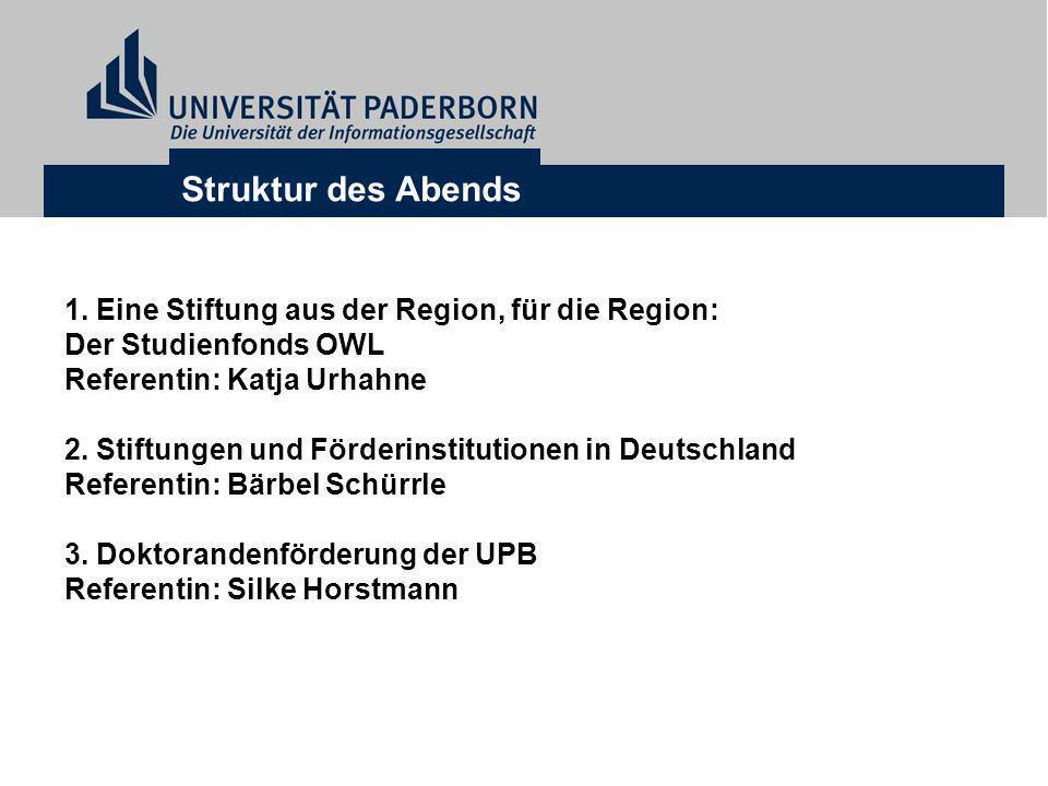 Struktur des Abends 1. Eine Stiftung aus der Region, für die Region: Der Studienfonds OWL Referentin: Katja Urhahne 2. Stiftungen und Förderinstitutio