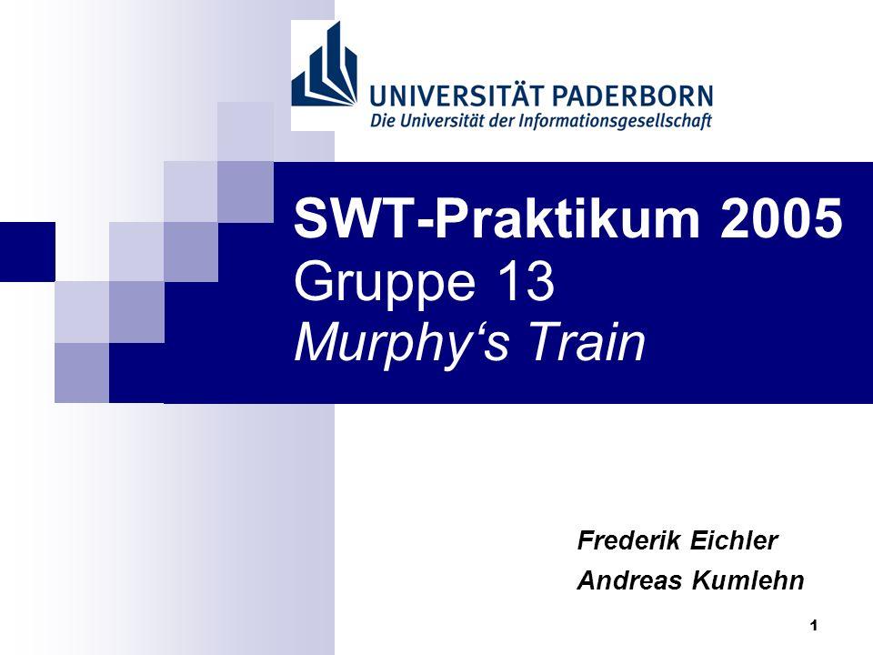 1 SWT-Praktikum 2005 Gruppe 13 Murphys Train Frederik Eichler Andreas Kumlehn
