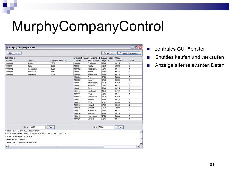 21 MurphyCompanyControl zentrales GUI Fenster Shuttles kaufen und verkaufen Anzeige aller relevanten Daten