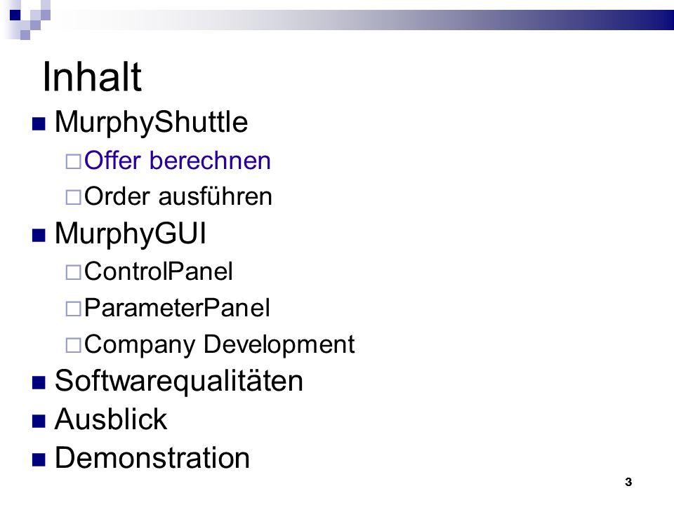 3 Inhalt MurphyShuttle Offer berechnen Order ausführen MurphyGUI ControlPanel ParameterPanel Company Development Softwarequalitäten Ausblick Demonstra