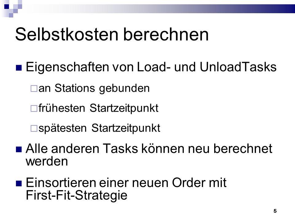 5 Selbstkosten berechnen Eigenschaften von Load- und UnloadTasks an Stations gebunden frühesten Startzeitpunkt spätesten Startzeitpunkt Alle anderen Tasks können neu berechnet werden Einsortieren einer neuen Order mit First-Fit-Strategie
