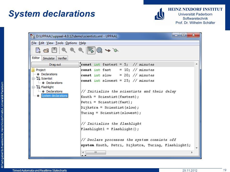 © Fachgebiet Softwaretechnik, Heinz Nixdorf Institut, Universität Paderborn 19 Timed Automata und Realtime Statecharts29.11.2012 System declarations