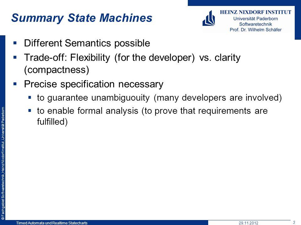 © Fachgebiet Softwaretechnik, Heinz Nixdorf Institut, Universität Paderborn 3 Timed Automata und Realtime Statecharts29.11.2012 Summary State Machines