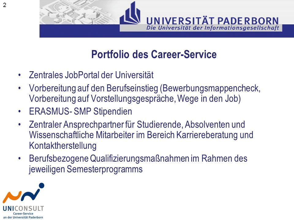 2 Zentrales JobPortal der Universität Vorbereitung auf den Berufseinstieg (Bewerbungsmappencheck, Vorbereitung auf Vorstellungsgespräche, Wege in den