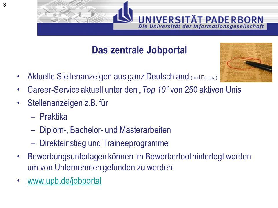 Das zentrale Jobportal Aktuelle Stellenanzeigen aus ganz Deutschland (und Europa) Career-Service aktuell unter den Top 10 von 250 aktiven Unis Stellen