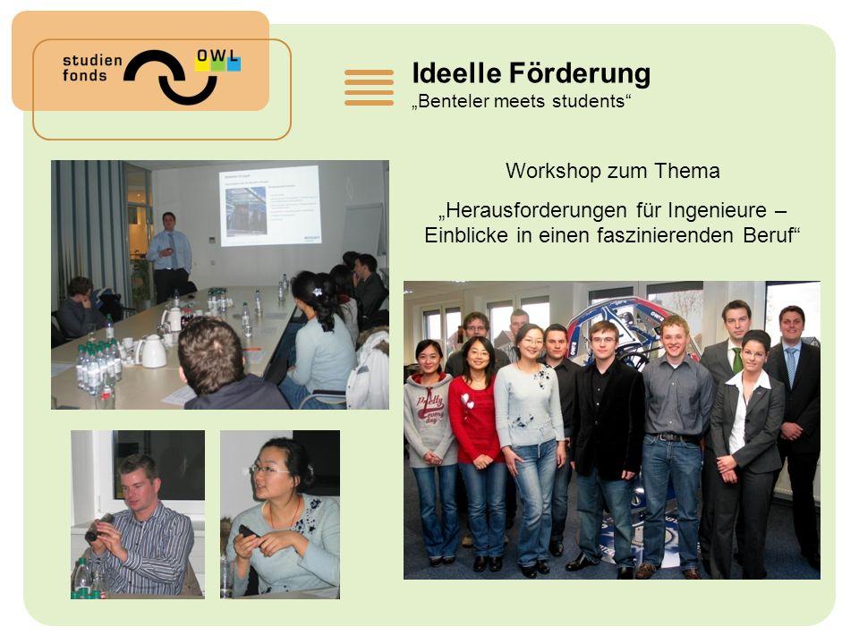 Ideelle Förderung Benteler meets students Workshop zum Thema Herausforderungen für Ingenieure – Einblicke in einen faszinierenden Beruf