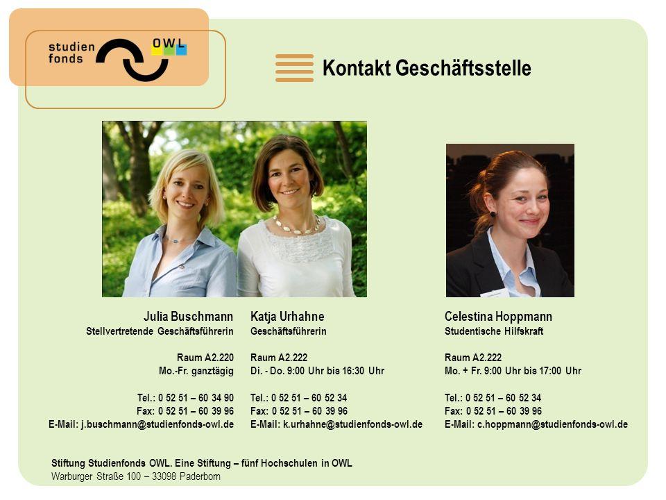Kontakt Geschäftsstelle Katja Urhahne Geschäftsführerin Raum A2.222 Di.