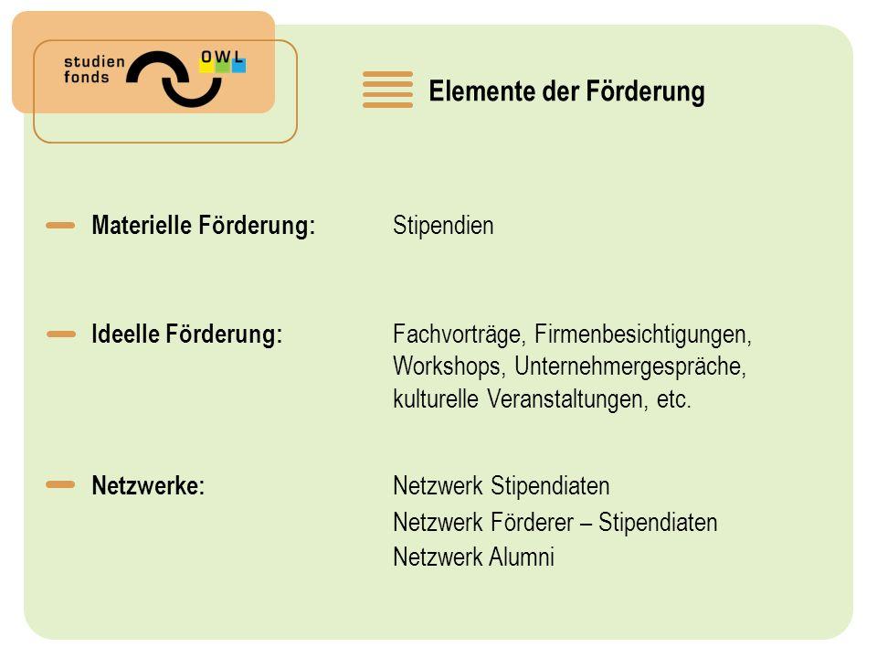 Elemente der Förderung Materielle Förderung: Stipendien Ideelle Förderung: Fachvorträge, Firmenbesichtigungen, Workshops, Unternehmergespräche, kulturelle Veranstaltungen, etc.
