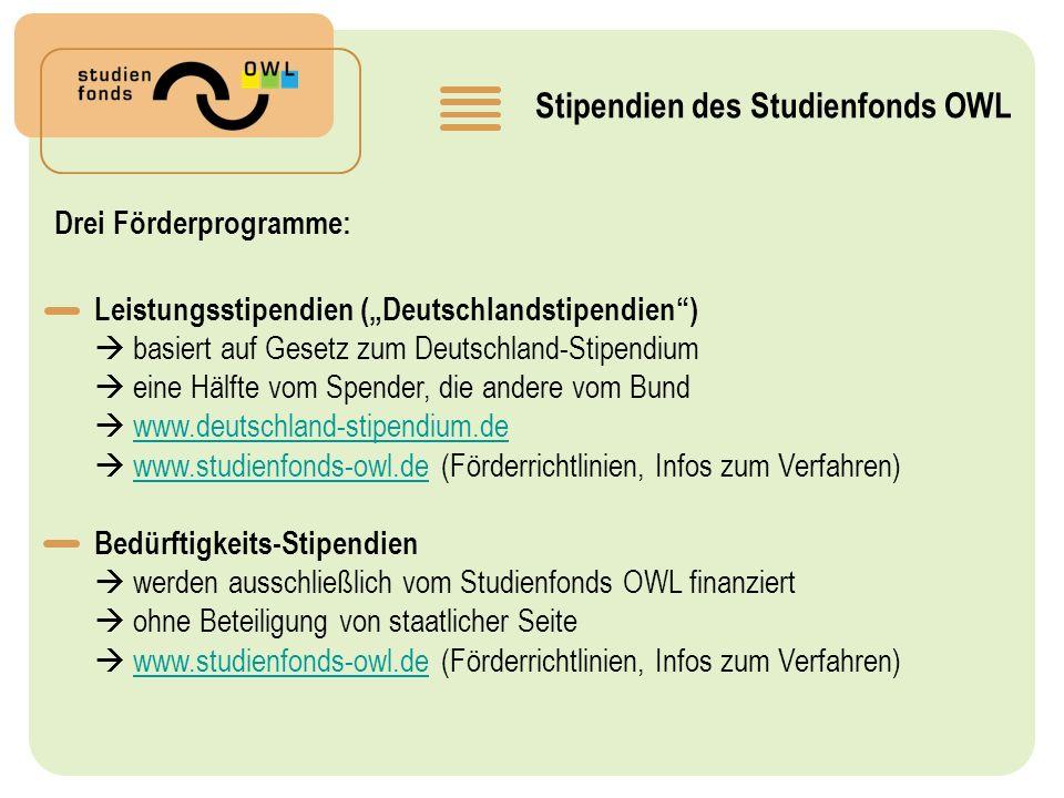 Stipendien des Studienfonds OWL Drei Förderprogramme: Leistungsstipendien (Deutschlandstipendien) basiert auf Gesetz zum Deutschland-Stipendium eine Hälfte vom Spender, die andere vom Bund www.deutschland-stipendium.de www.studienfonds-owl.de (Förderrichtlinien, Infos zum Verfahren)www.studienfonds-owl.de Bedürftigkeits-Stipendien werden ausschließlich vom Studienfonds OWL finanziert ohne Beteiligung von staatlicher Seite www.studienfonds-owl.de (Förderrichtlinien, Infos zum Verfahren)www.studienfonds-owl.de