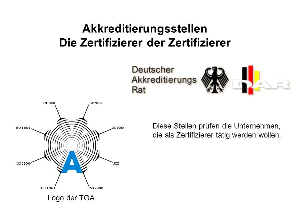 Logo der TGA Akkreditierungsstellen Die Zertifizierer der Zertifizierer Diese Stellen prüfen die Unternehmen, die als Zertifizierer tätig werden wollen.