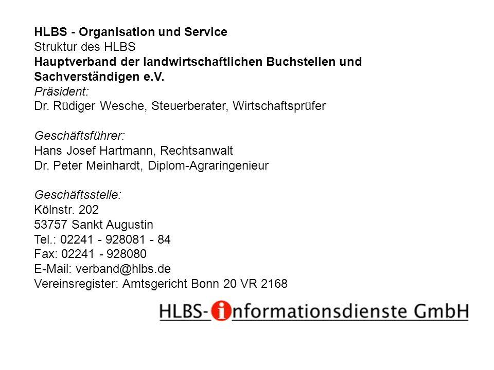 HLBS - Organisation und Service Struktur des HLBS Hauptverband der landwirtschaftlichen Buchstellen und Sachverständigen e.V. Präsident: Dr. Rüdiger W