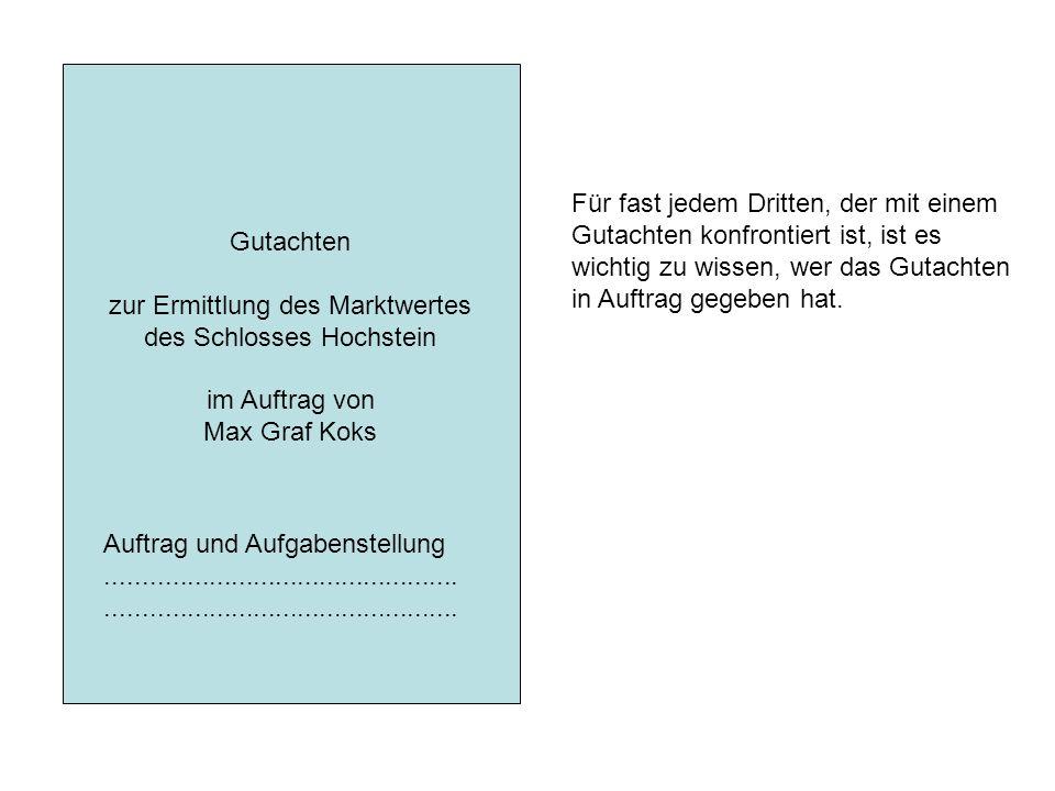 Gutachten zur Ermittlung des Marktwertes des Schlosses Hochstein im Auftrag von Max Graf Koks Auftrag und Aufgabenstellung............................