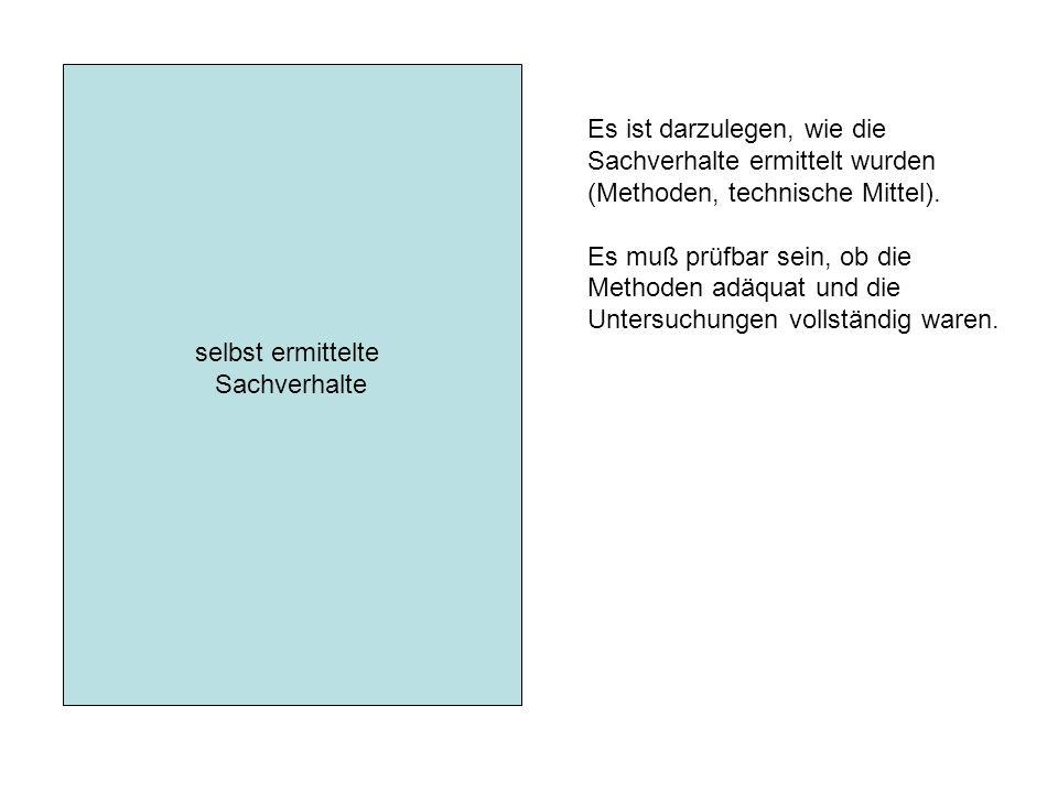 selbst ermittelte Sachverhalte Es ist darzulegen, wie die Sachverhalte ermittelt wurden (Methoden, technische Mittel).