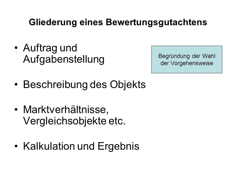 Gliederung eines Bewertungsgutachtens Auftrag und Aufgabenstellung Beschreibung des Objekts Marktverhältnisse, Vergleichsobjekte etc. Kalkulation und