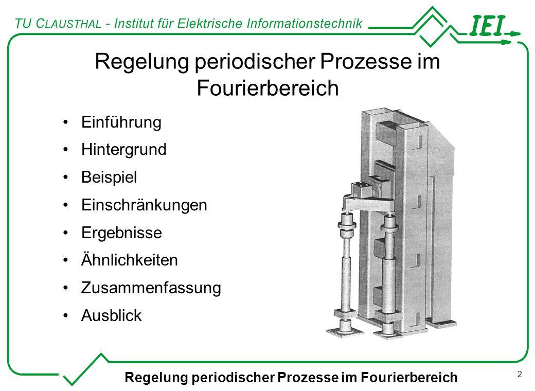Regelung periodischer Prozesse im Fourierbereich 2 Einführung Hintergrund Beispiel Einschränkungen Ergebnisse Ähnlichkeiten Zusammenfassung Ausblick