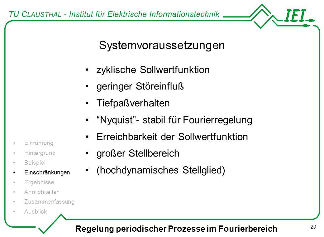 Regelung periodischer Prozesse im Fourierbereich 20 Systemvoraussetzungen zyklische Sollwertfunktion geringer Störeinfluß Tiefpaßverhalten Nyquist- st