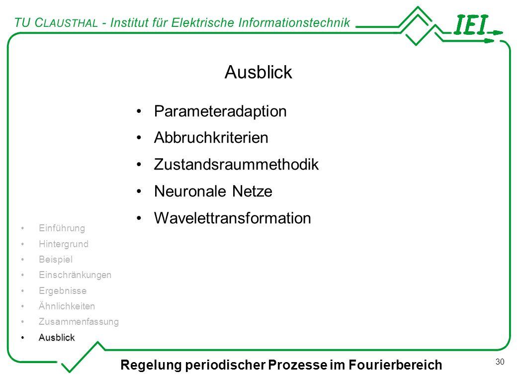 Regelung periodischer Prozesse im Fourierbereich 30 Ausblick Einführung Hintergrund Beispiel Einschränkungen Ergebnisse Ähnlichkeiten Zusammenfassung