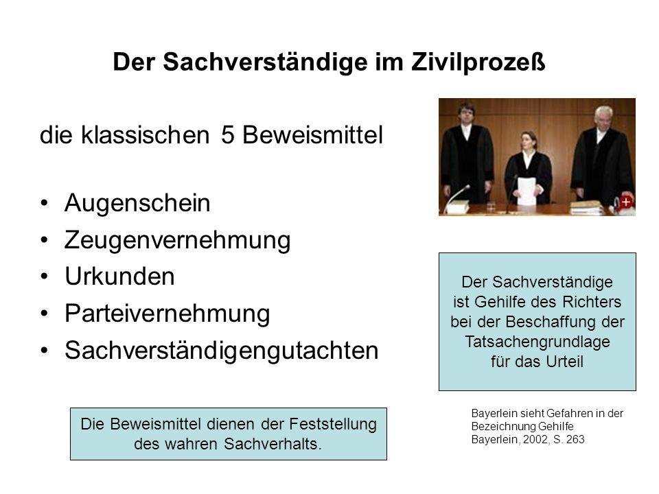 Der Sachverständige im Zivilprozeß die klassischen 5 Beweismittel Augenschein Zeugenvernehmung Urkunden Parteivernehmung Sachverständigengutachten Der