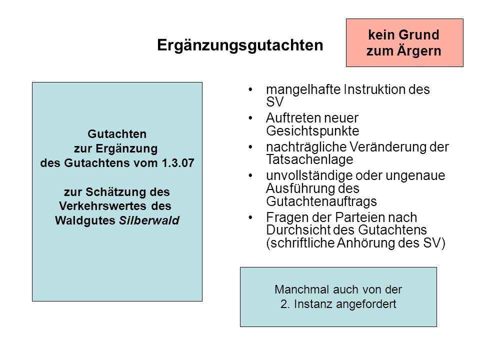 Ergänzungsgutachten Gutachten zur Ergänzung des Gutachtens vom 1.3.07 zur Schätzung des Verkehrswertes des Waldgutes Silberwald mangelhafte Instruktio