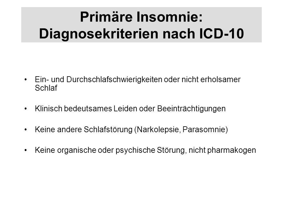 Primäre Insomnie: Diagnosekriterien nach ICD-10 Ein- und Durchschlafschwierigkeiten oder nicht erholsamer Schlaf Klinisch bedeutsames Leiden oder Beei