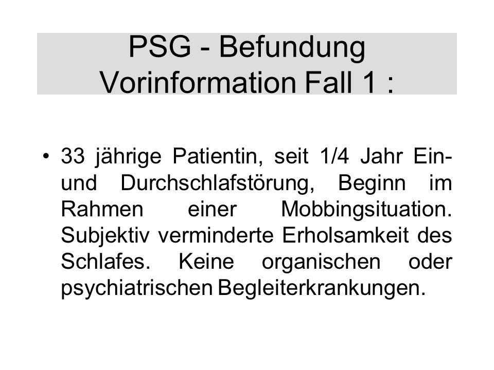 PSG - Befundung Vorinformation Fall 1 : 33 jährige Patientin, seit 1/4 Jahr Ein- und Durchschlafstörung, Beginn im Rahmen einer Mobbingsituation. Subj