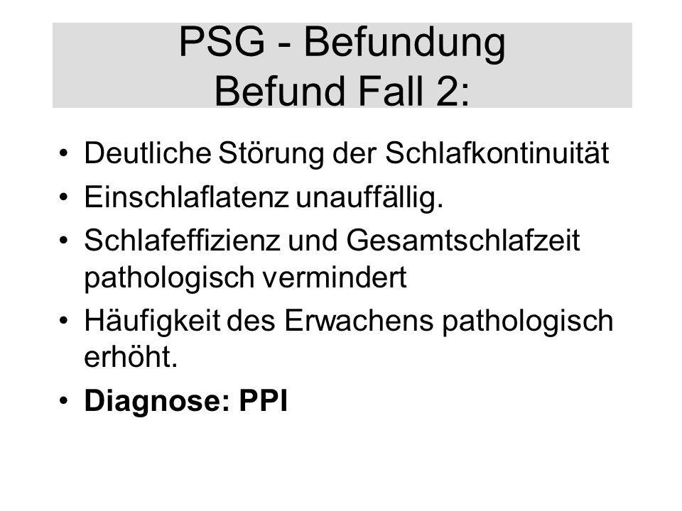 PSG - Befundung Befund Fall 2: Deutliche Störung der Schlafkontinuität Einschlaflatenz unauffällig. Schlafeffizienz und Gesamtschlafzeit pathologisch
