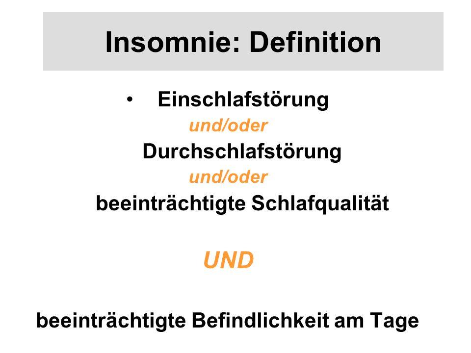 Insomnie: Definition Einschlafstörung und/oder Durchschlafstörung und/oder beeinträchtigte Schlafqualität UND beeinträchtigte Befindlichkeit am Tage