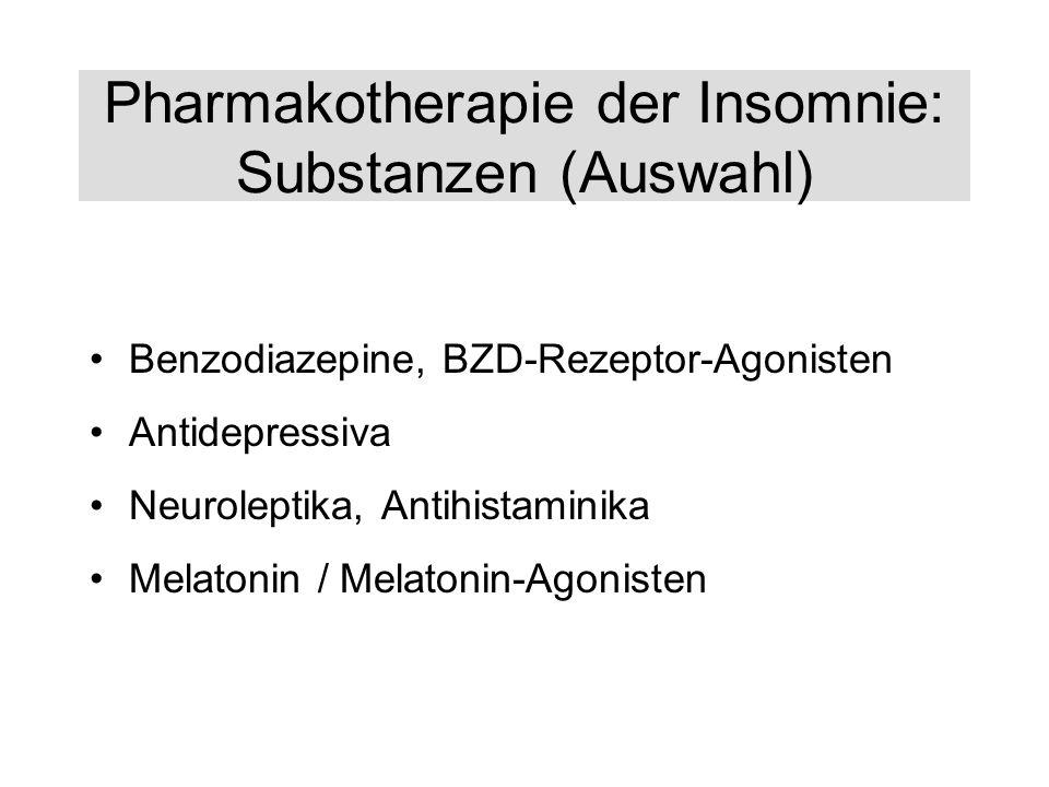Pharmakotherapie der Insomnie: Substanzen (Auswahl) Benzodiazepine, BZD-Rezeptor-Agonisten Antidepressiva Neuroleptika, Antihistaminika Melatonin / Me