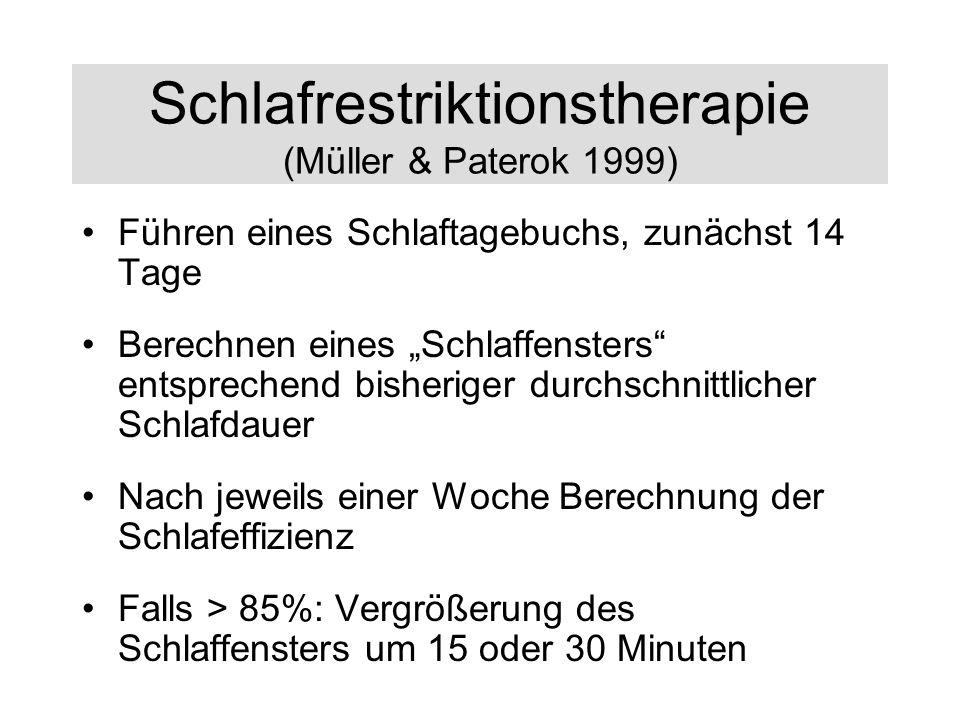 Schlafrestriktionstherapie (Müller & Paterok 1999) Führen eines Schlaftagebuchs, zunächst 14 Tage Berechnen eines Schlaffensters entsprechend bisherig