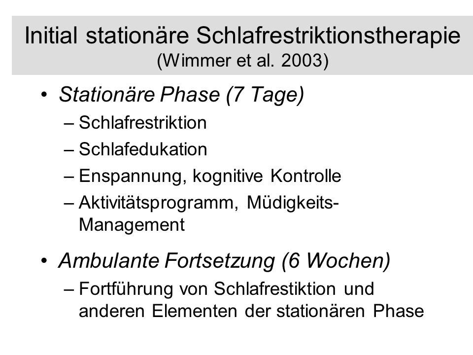 Initial stationäre Schlafrestriktionstherapie (Wimmer et al. 2003) Stationäre Phase (7 Tage) –Schlafrestriktion –Schlafedukation –Enspannung, kognitiv