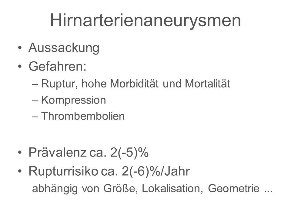 Hirnarterienaneurysmen Aussackung Gefahren: –Ruptur, hohe Morbidität und Mortalität –Kompression –Thrombembolien Prävalenz ca. 2(-5)% Rupturrisiko ca.