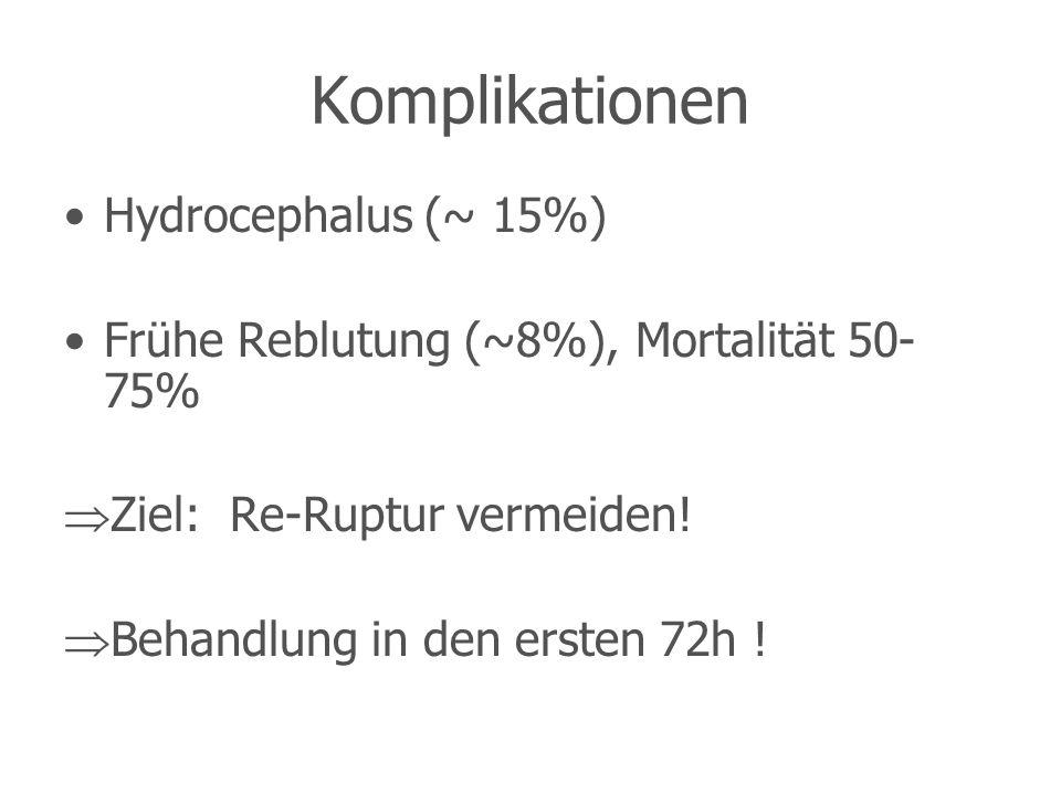 Komplikationen Hydrocephalus (~ 15%) Frühe Reblutung (~8%), Mortalität 50- 75% Ziel: Re-Ruptur vermeiden! Behandlung in den ersten 72h !