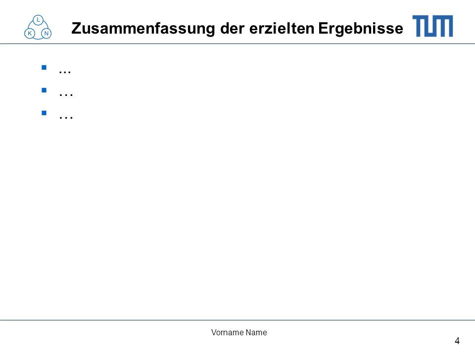 4 Vorname Name Zusammenfassung der erzielten Ergebnisse... …