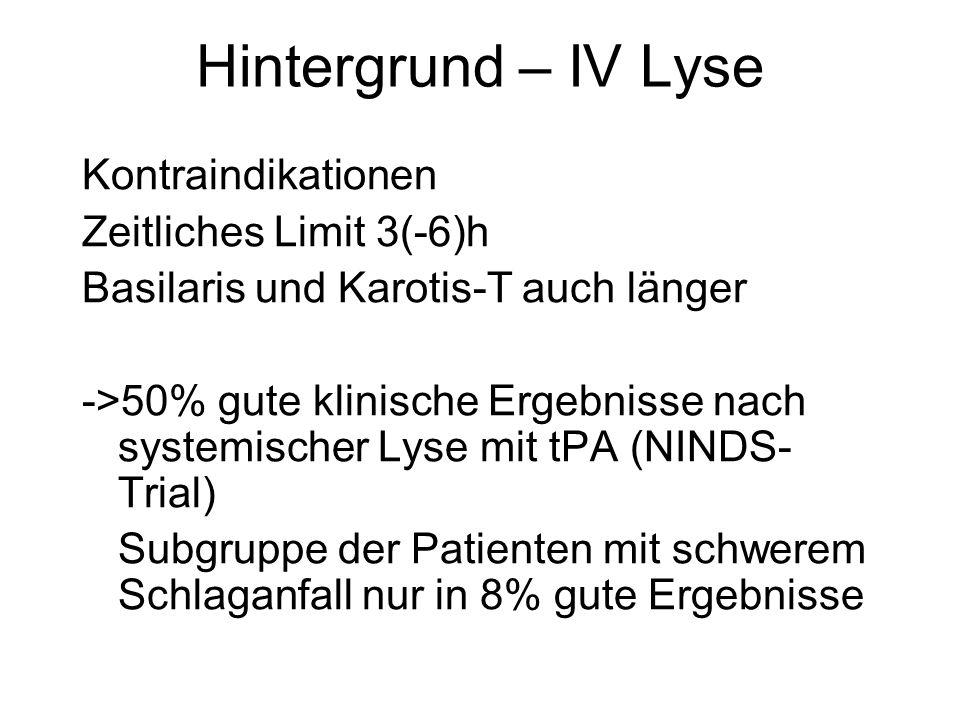 Hintergrund – IV Lyse Kontraindikationen Zeitliches Limit 3(-6)h Basilaris und Karotis-T auch länger ->50% gute klinische Ergebnisse nach systemischer