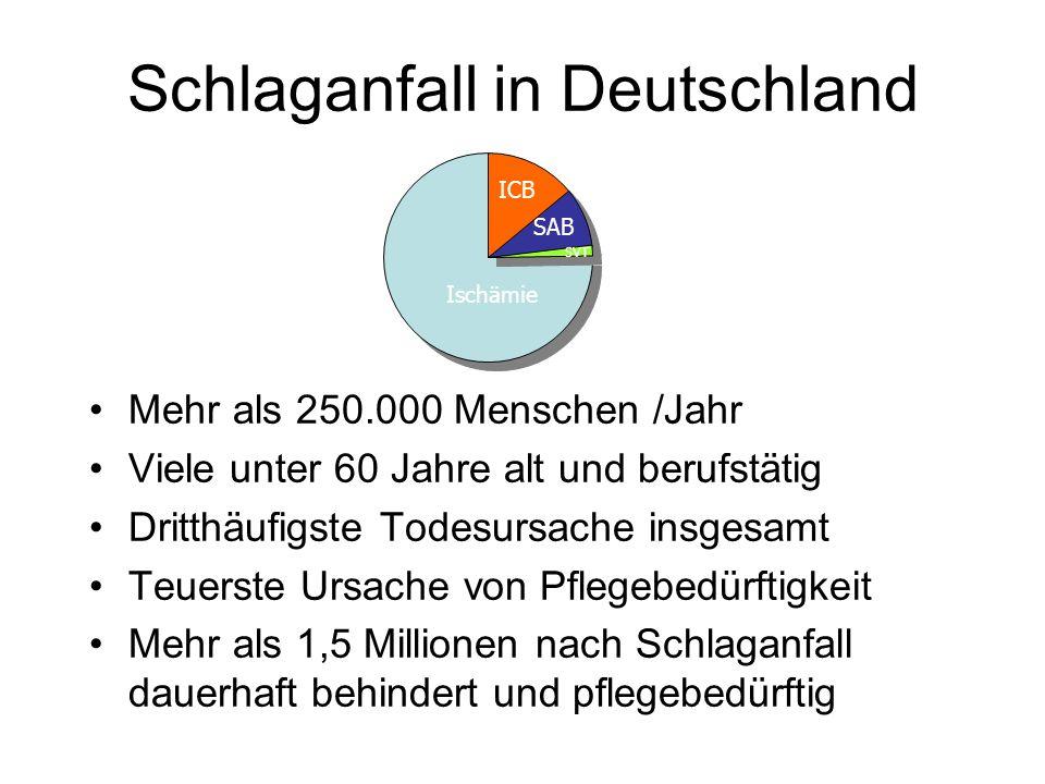 Schlaganfall in Deutschland Mehr als 250.000 Menschen /Jahr Viele unter 60 Jahre alt und berufstätig Dritthäufigste Todesursache insgesamt Teuerste Ur